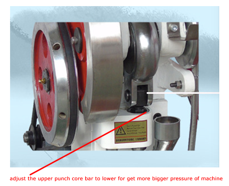 Adjust the pressure by the upper punch core bar for the TDP5